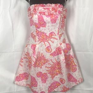 Lilly Pulitzer 100% Cotton pink and white dress